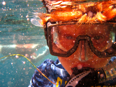 underwater, portrait, red, blue, sea, snorkel